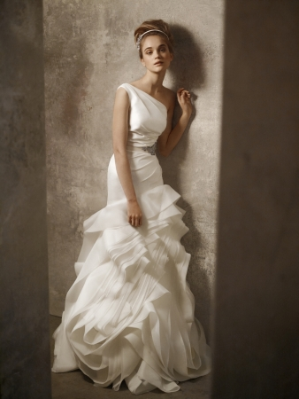 White  Shoulder Dress on White By Vera Wang Wedding Dress Style Vw351010   Onewed