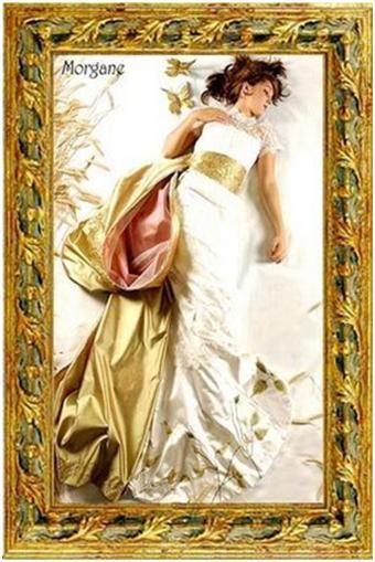 White wedding dress with gold sash