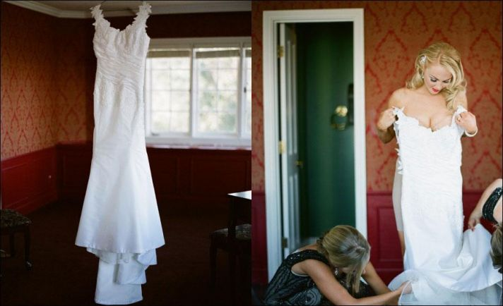 gorgeous bride puts on wedding dress for her big day