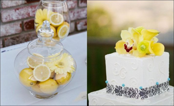 citrus decor and wedding cake with yellow accents