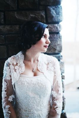 Beautiful Bride with Vintage, Lace Wedding Dress and Bolero