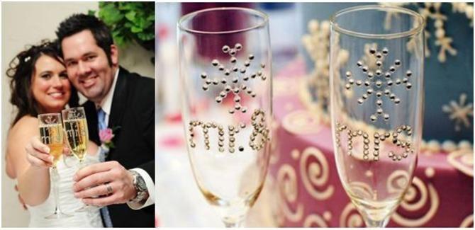 """Fun, Easy, DIY """"Mr. & Mrs."""" Wedding Flutes"""