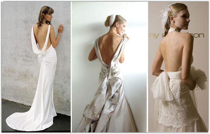 Gorgeous wedding dresses with low-backs and lace or rouching detail