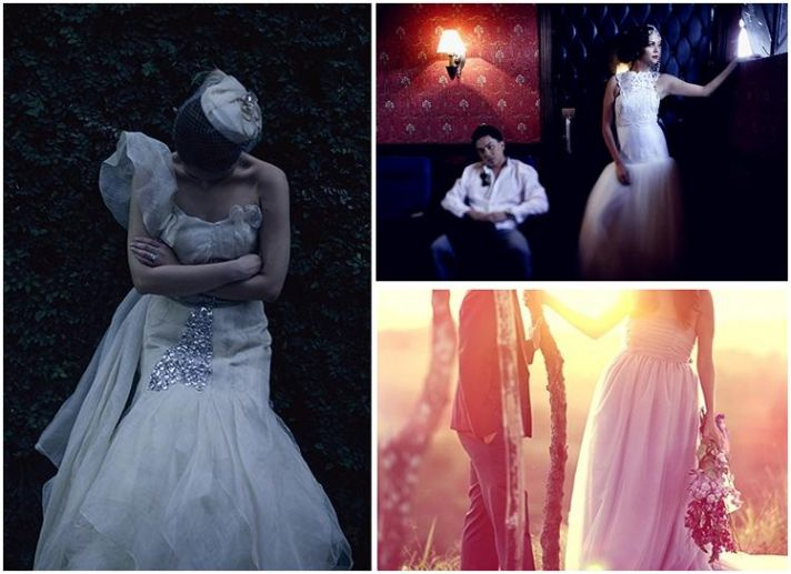 Artistic photos of vintage-inspired brides in their gorgeous wedding dresses