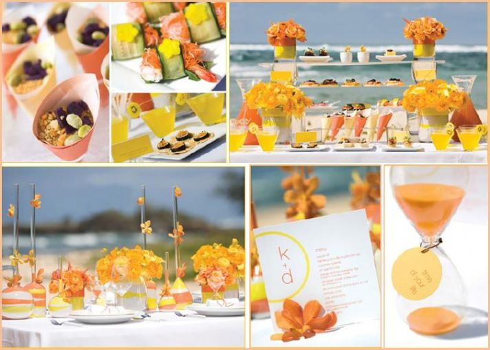 Bring a punch of citrus to your wedding with orange and yellow flowers, sand, menus and more