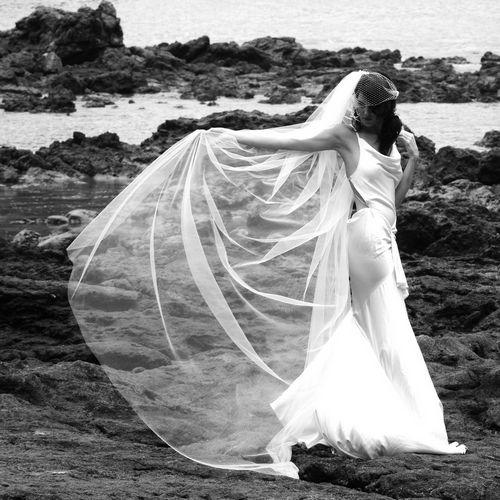 Flowing birdcage bridal veil