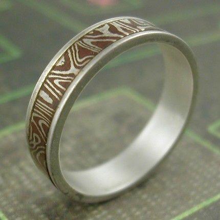 inlaid mokume wedding ring