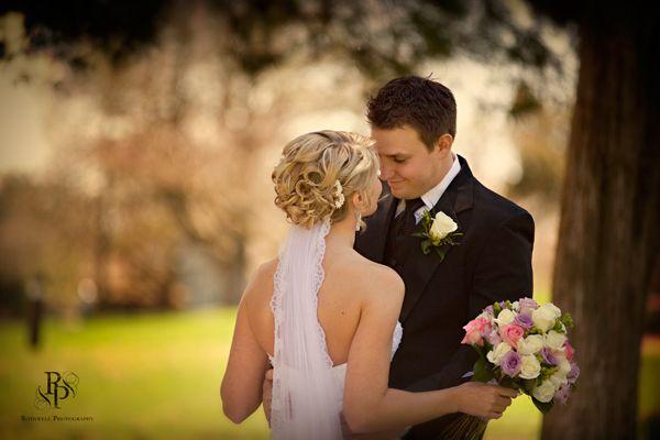 Bride, groom, bouquet