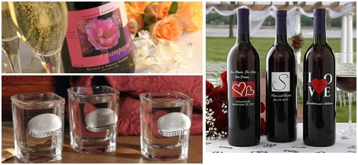 Personalized wedding party gifts- give the gift of spirits with personalized wine bottles and shot g