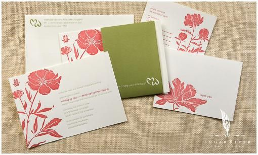 Asian and peony white, pink and green letterpress wedding invitations