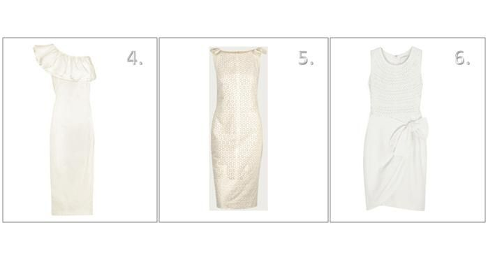 White, cream, gold short dresses for your wedding, ruffle and bow details