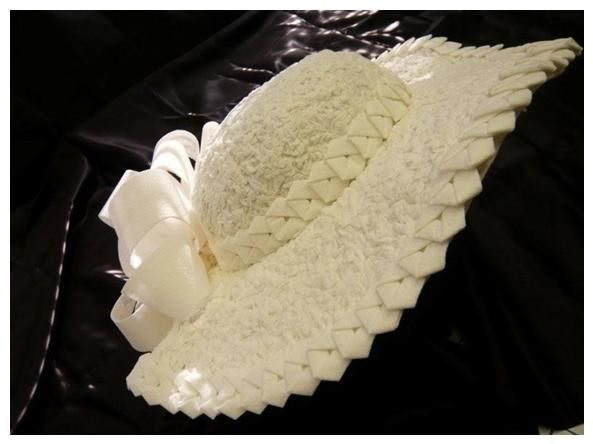 Stunning wide brimmed wedding hat with Japanese origami detail, made entirely from toilet paper