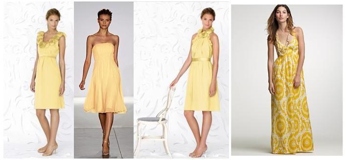 Beautiful yellow bridesmaid dresses from Lela Rose, Priscilla of Boston, and J.Crew