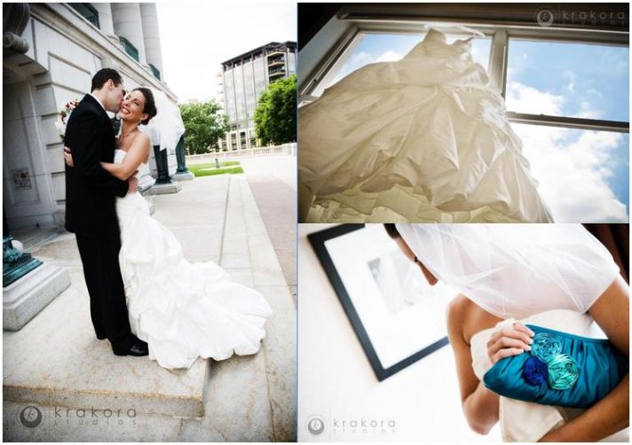 Stunning bride and groom pose outside in downtown Madison, Wisconsin. Something blue is bride's clu