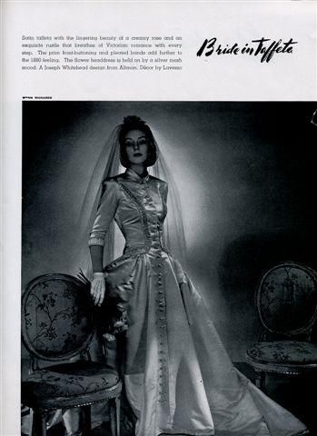 Brides Magazine 1939- Bride in Taffeta wedding dress with covered buttons down front