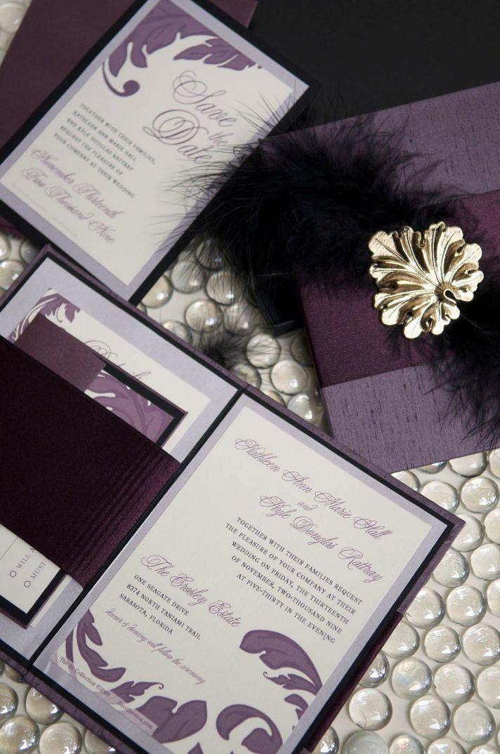 Hardbound eggplant, black, white wedding stationery with golf leaf embellishment & feathers