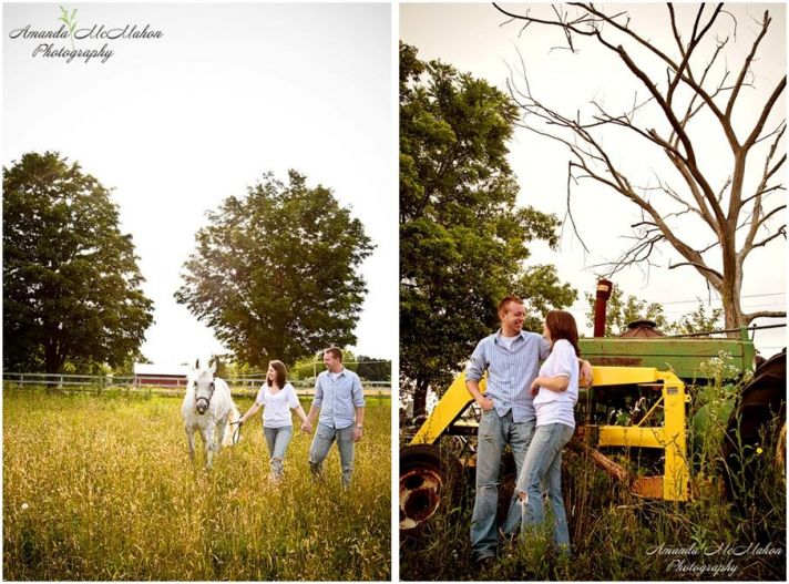 Bride and groom outside in green field with white horse; pose in front of John Deere tractor