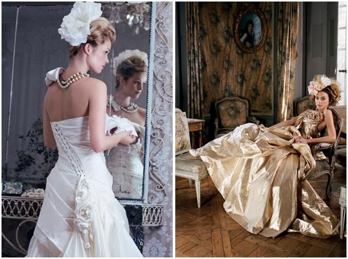 Romantic white wedding dress with floral hairpiece, corset back; romantic, yet edgy, gold taffetta w