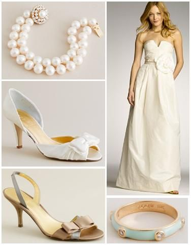 Stunning yet simple bridal shoes, jewelry, and wedding dress from J.Crew.com