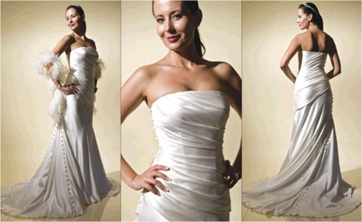 The Opening Night wedding dress from Amy Michelson- ivory strapless, covered buttons, subtle ruching