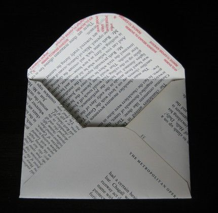 These envelopes made from recycled book pages are self-adhesive and can go through the U.S. mail