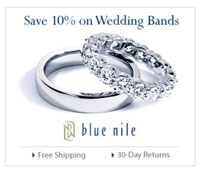 Save 10% on your Blue Nile wedding ring purchase with reference code ONEWED