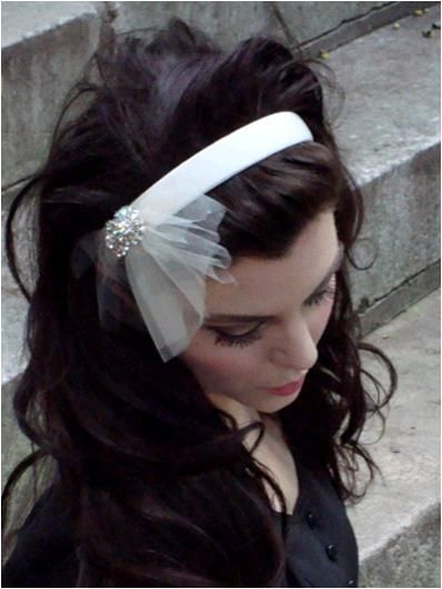 Ivory Belvedere Castle bridal headband with Swarovski brooch and netting detail