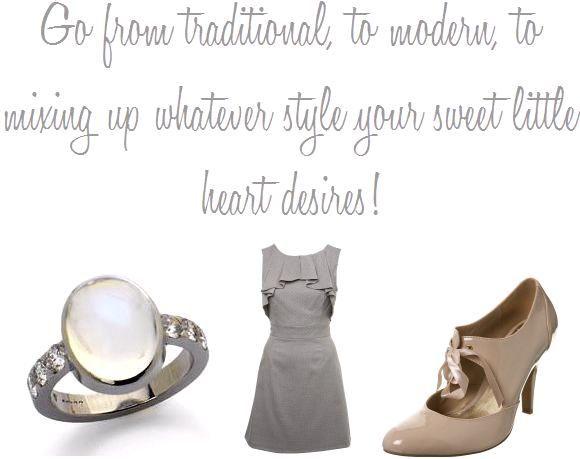 Stunning wedding ring, short grey bridesmaid dress, camel retro patent leather heels