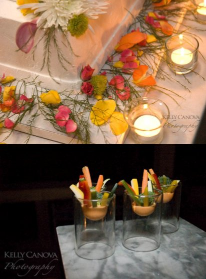The fresh orange, yellow, green and red flowers are complimented by the equally fresh orange, red an