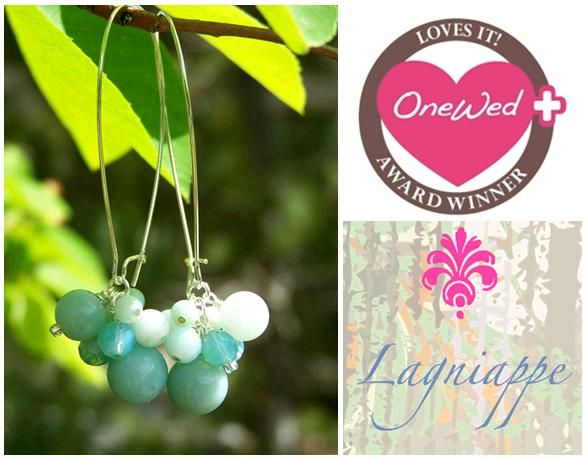 Gorgeous hand-crafted sterling silver, Amazonite, and Pacific Opal Swarovski drop earrings from Lagn