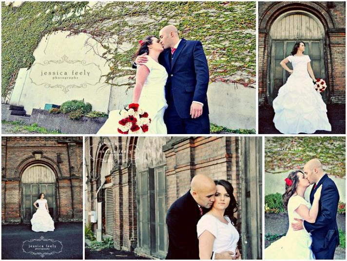 Bride in modest white wedding dress with red and white rose bouquet kises groom in front of ivy-cove