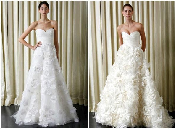 Cream and white strapless Monique Lhuillier wedding dresses- full a-line skirts covered in flower ap
