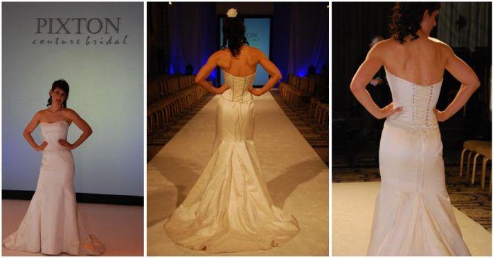 Gorgeous strapless ivory wedding dress with corset bodice, and rhinestone eyelets