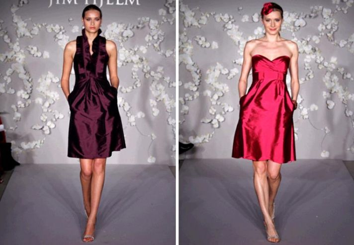 Beautiful wine and rasberry bridesmaids' dresses, perfect for a wedding during the holiday season