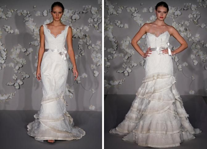Ivory victorian lace trumpet wedding dress with a deep v neckline, pleated bias bands with lace appl