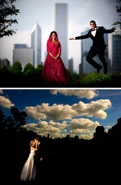 Awesome photojournalistic wedding photos- bride and groom pose in front of Chicago high rise buildin