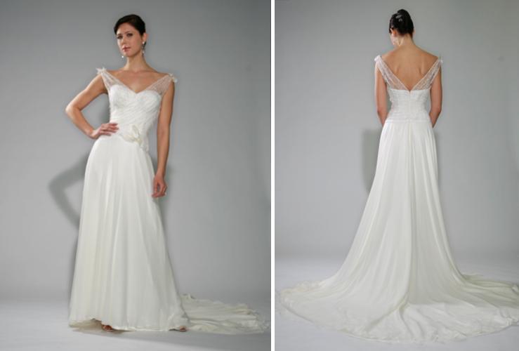 Beautiful white wedding dress with portrait neckline illusion straps