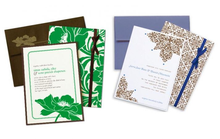 Gorgeous, vibrantwedding invitations with chocolate brown envelopes and lush bows, and stunning patt