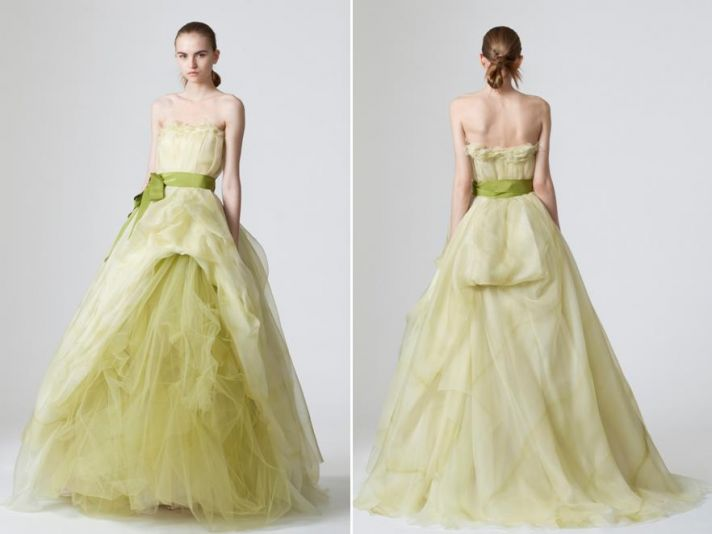 Unique light pea green Vera Wang wedding dress with blod tulle skirt and ribbon at natural waist