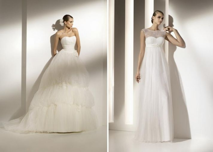 Beautiful high waist strapless wedding dress with full tulle skirt, fit for a princess