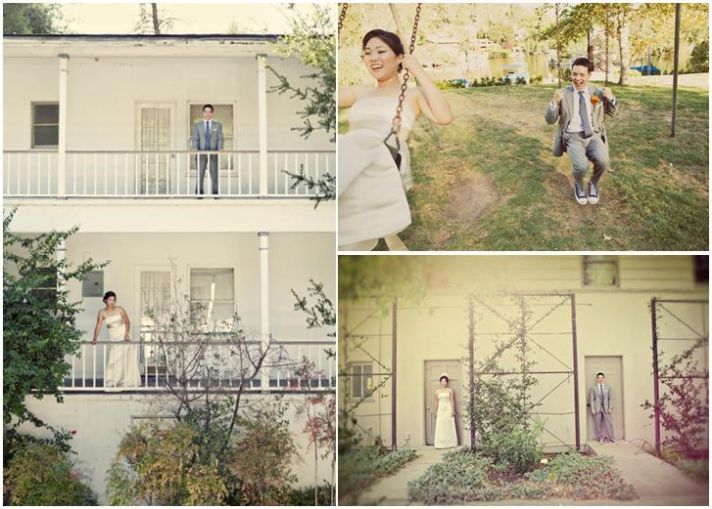 Bride in white strapless wedding dress, groom in grey morning suit, have fun while posing outside