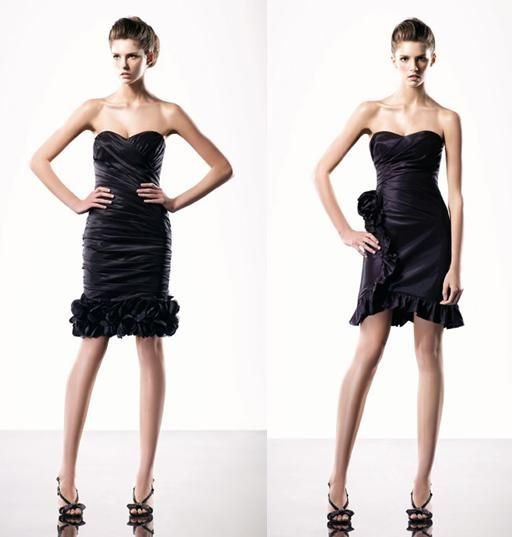 Black knee-length strapless bridesmaids dresses with sweetheart necklines and ruffled hems