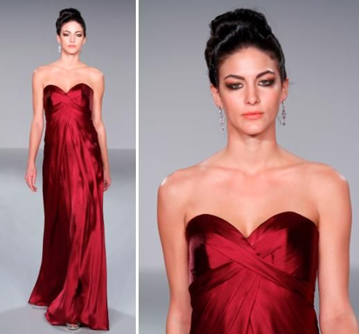 Sweetheart neckline burgundy long bridesmaids dress- perfect for a more formal winter wedding