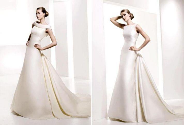 Timeless, modest a-line wedding dresses, reminiscent of Audrey Hepburn