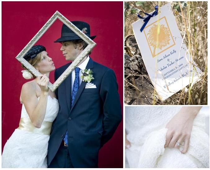 Bride and groom play dress up and pose in front of a red backdrop; white, light gold and navy blue w