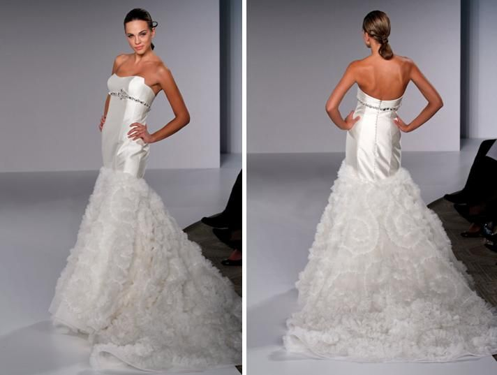 Drop waist diamond white strapless wedding dress with jewel-encrusted band under bodice and full ruf