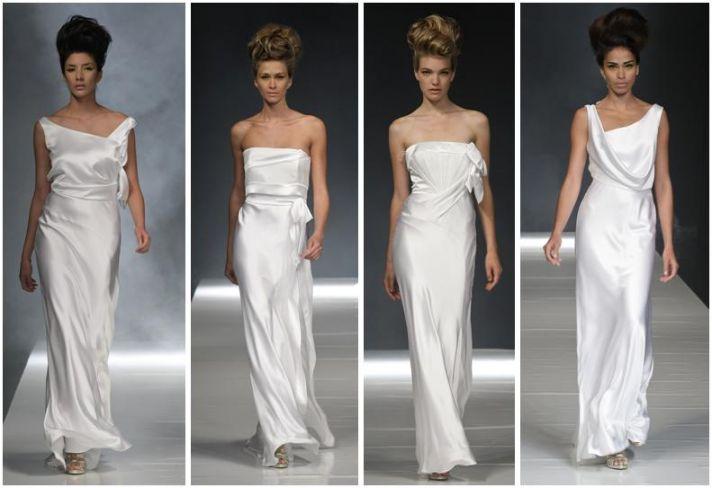 Sexy and slinky diamond white sheath style wedding dresses
