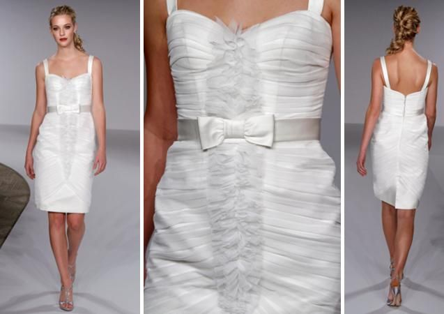 Knee-length wedding reception dress with ruching and tiny bow detail