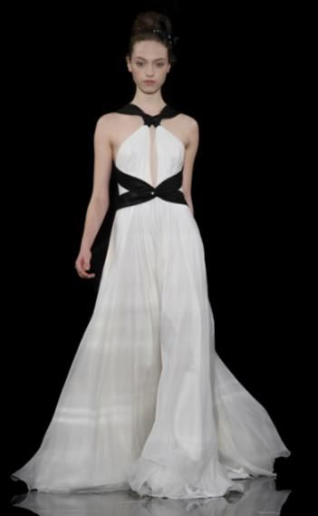 Ivory a-line wedding dress with black bands at waist and keyhole front