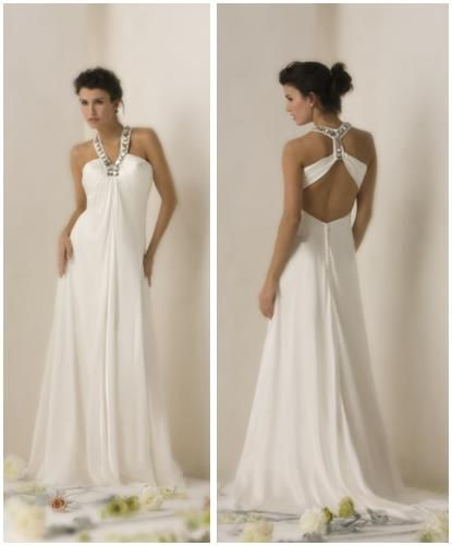 Beautiful white sheath style wedding dress with detailed silver rhinestone